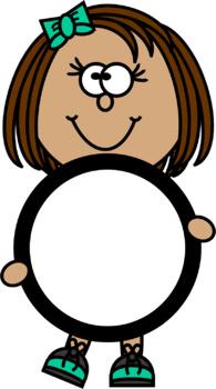 Kids Holding a Blank Circle Clip Art