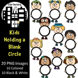 Kids Holding a Blank Circle Clip Art