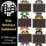 Kids Holding a Chalkboard Clip Art