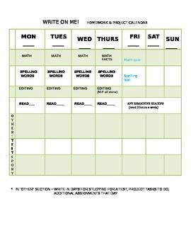 Kids Homework Weekly Calendar Grade 3-4 for parents
