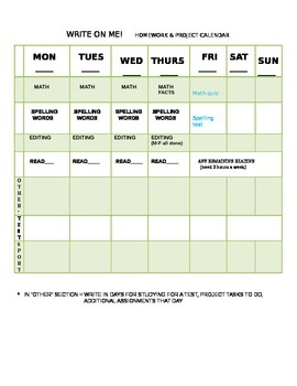 Kids Homework Weekly Calendar Grade 3-4 for parents