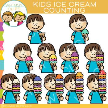 Kids Ice Cream Counting Clip Art