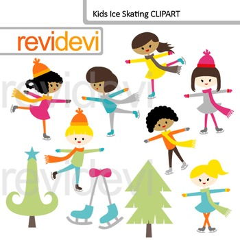 Kids Ice Skating Clip Art by Revi Devi