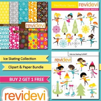 Kids Ice Skating Clip art bundle (3 packs) teacher seller
