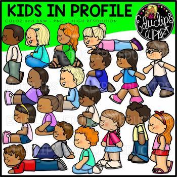Kids In Profile Clipart Bundle {Educlips Clipart}