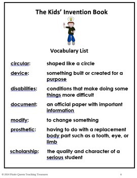 Kids' Invention Book-Vocabulary Activities/Common Core Aligned