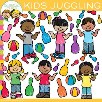 Kids Juggling Clip Art