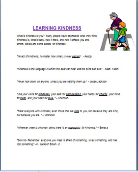"Kindness - ""Learning Kindness""-lesson, 2 activities, coloring pages-Elementary"