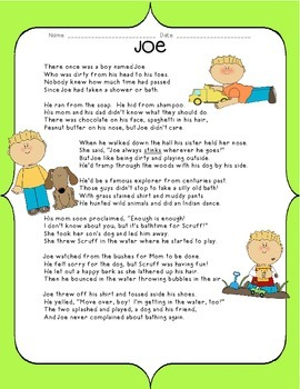 Kids Like Me!  Joe's Story: Reading Comprehension and Writ