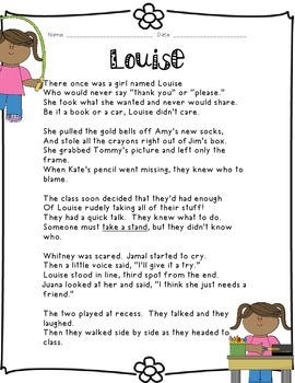 Kids Like Me!  Louise's Story: Reading Comprehension and Writing Skills