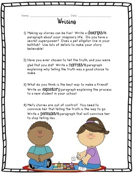 Kids Like Me!  Mel's Story: Reading Comprehension and Writing Skills