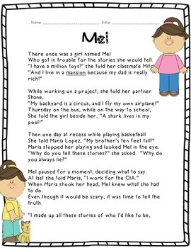 Kids Like Me!  Mel's Story: Reading Comprehension and Writ
