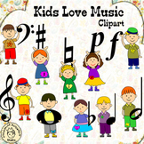 Kids with Music Notes and Symbols Clip Art