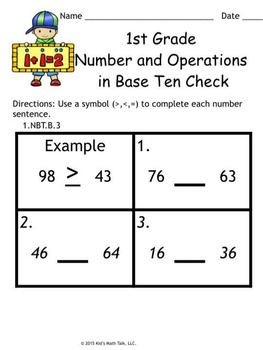 Kid's Math Talk - 1st Grade Quick Check for Number and Operations in Base Ten