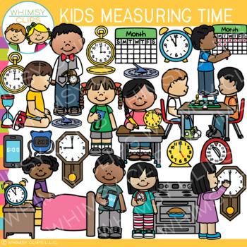 Kids Measuring Time Clip Art