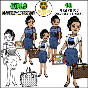 Girls Clipart - African-American