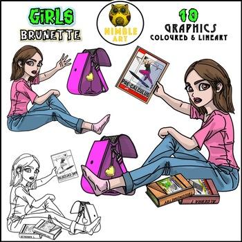 Girls Clipart - Brunette
