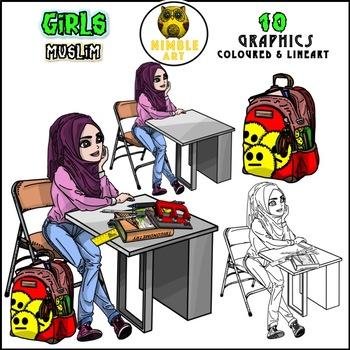 Girls Clipart - Muslim