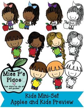 Kids Mini Clip Art Set: Apples & Kids [Miss P's Place]