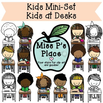 Kids Mini Clip Art Set: Kids at Desks [Miss P's Place]