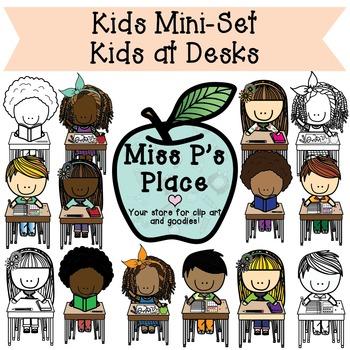 Kids Mini Clip Art Set: Kids at Desks [Miss P's Place]