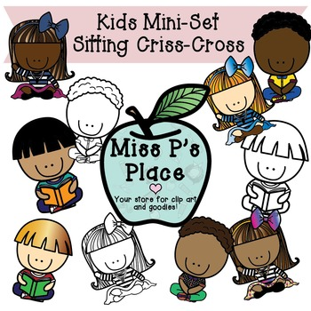 Kids Mini Clip Art Set: Sitting Criss Cross [Miss P's Place]