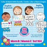 Kids & Mother's day Clipart Bundle Color & Black/White Día