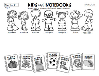 Kids & Notebooks: Word/Picture Match for Articulation