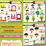 Kids Outdoor Activities Clip art (3 packs) jumping, bicycle ride, playing