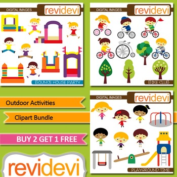 Kids Outdoor Activities Clip art (3 packs) jumping, bicycl