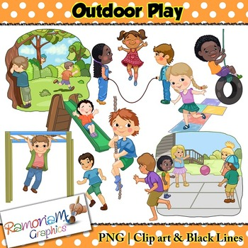 Kids Outdoor Play and games Clip art