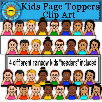 Kids Page Toppers Clip Art