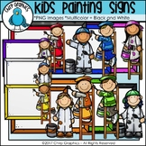 Kids Painting Signs Clip Art - Chirp Graphics