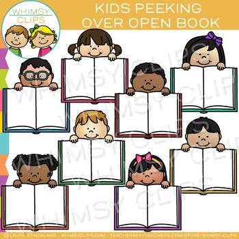 Kids Peeking Over Open Books Clip Art
