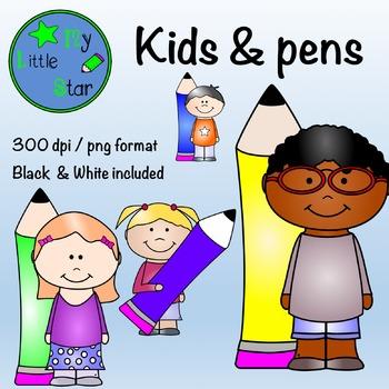Kids & Pens: clipart