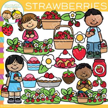 Kids Picking Strawberries Clip Art