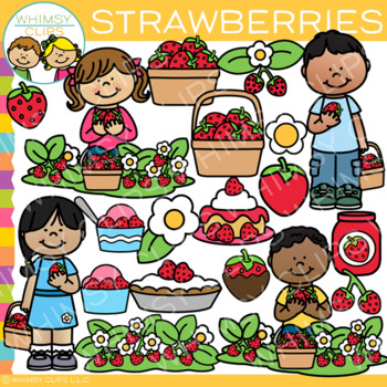Kids Picking Strawberries Clip Art {Strawberry Patch Clip Art}