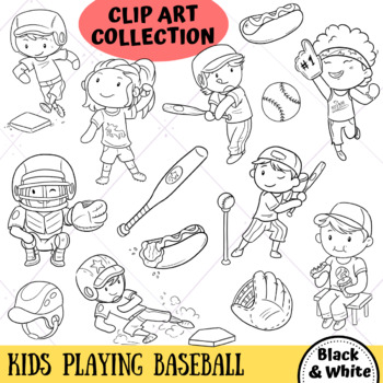 Kids Playing Baseball (BLACK AND WHITE ONLY)