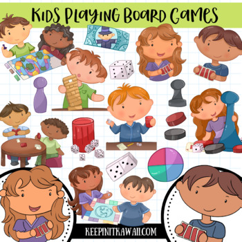Kids Playing Board Games Clip Art Collection