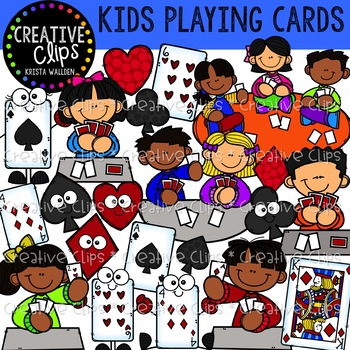 Kids Playing Cards Game Clipart Creative Clips Clipart Tpt