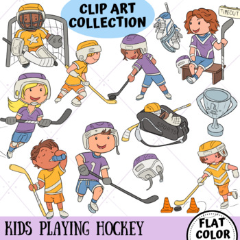 Kids Playing Hockey (FLAT COLOR ONLY)