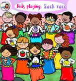 Kids Playing -Sack Race
