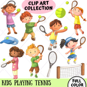 Kids Playing Tennis (FULL COLOR ONLY)