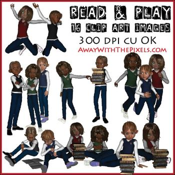 Kids Playing and Reading Clipart- 16 Clip Art Images for T