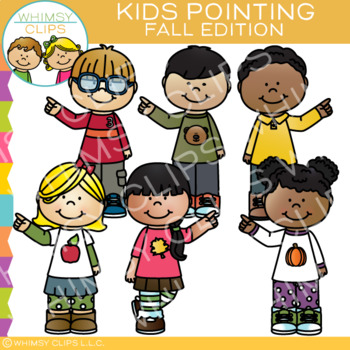 Kids Pointing: Fall Clip Art