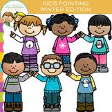 Pointing Kids Winter Clip Art