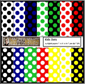 Kids Polka Dot Digital Paper