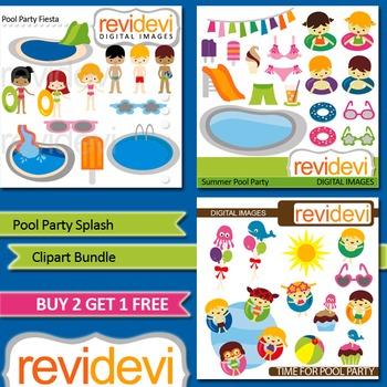 Summer clip art - Kids Pool Party (3 packs)