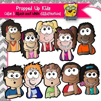 Kids Propped Up Hands to Face Commercial Use Clipart