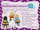 Kids Quietly Sitting & Raising Hand Clipart